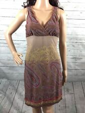 Bohemian Sundress Small Rampage Pale Brown Purple Paisley Empire Waist Dress