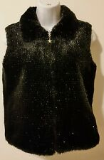 Women Black XL Reverseble Faux Fur Vest Star Zipper Unknow Brand