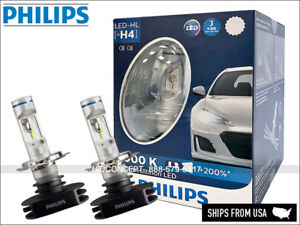 H4 PHILIPS X-treme Ultinon LED Bulbs 12953BWX2 Hi/Low Beam 6000K Up to +200%