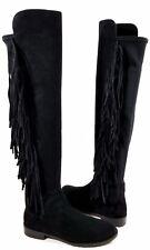 Stuart Weitzman Mane Black Suede Fringe Boots Size: US10 Regular RET $765.00