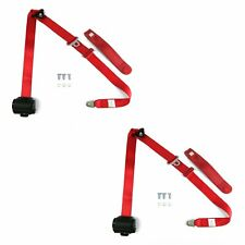 Red Retractable Front Shoulder Seat Belt Jeep CJ YJ Wrangler 82-95 3 Point Pair