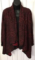 Spirited Randolph Duke Womens Cardigan Red Black Long Sleeve Size Medium