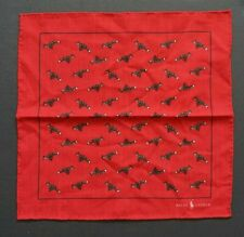 NEW RALPH LAUREN POLO RED TAFFETTA MADE IN ITALY 100% WOOL POCKET SQUARE