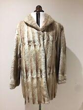 vintage real White Cream Champagne silver sapphire 3/4 mink fur coat 10 12
