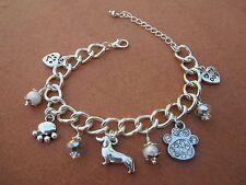 Dachshund Dog Charm Bracelet with Pearls & Silver Swarvoski Crystals