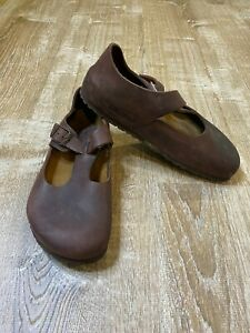 Birkenstock Paris Brown Suede 245 38 Buckle Clog Women's Soft Footbed EUC