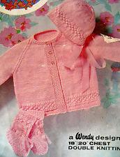 "1508 DK Baby Girl 18-20"" Coat Bonnet & Bootee's Vintage Easy Knitting Pattern"