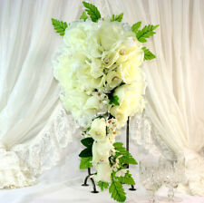 "1x 10"" Ivory Rose Teardrop Bridal Bouquet Wedding Artificial Silk Flowers"