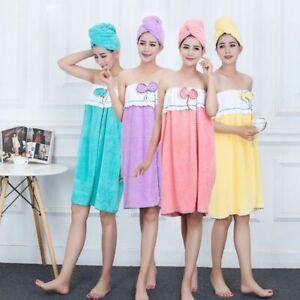 Cute Womens Wearable Bowknot Bath Towel With Bathing Cap Soft Absorbent Bathrobe