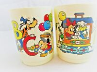 WALT DISNEY COMPANY  2 VINTAGE SMALL CUPS  3-4 OZ  DISNEY TRAIN,ABC DESIGNS