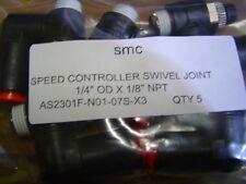 "QTY 5 SMC AS2301F-N01-07S-X3 Swivel Speed Control one Touch 1/4"" OD X 1/8"" NPT"