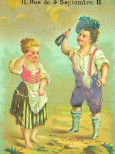 1870's-80's Au Gamin De Paris Kids Drinking Wine Lovely Victorian Trade Card F86