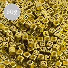 6mm Mix Alfabeto Lettera Perline Acrilico CUBI (Oro) 50g (K33/3)