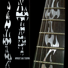 Fret Markers Inlay Sticker Vinyl Decal For Guitar - Fire Flames - Metallic
