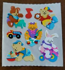 Vintage Sandylion sticker mod, cute animals playing with toys