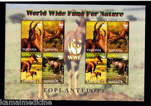 Tanzania 2006 MNH Sheet, WWF, Antelopes, Wild Animals