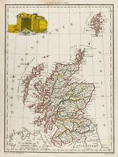 1812 - Carte ancienne Écosse. Malte-Brun Lapie. Antique map of Scotland