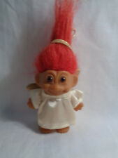 Vintage 1990's Russ Christmas Holiday Angel Ornament Troll Doll Red Hair - As Is