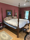 American Federal King Size 20th Century 4 Poster Bed Carved Rice Reeded Posts