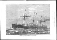 1878 - Antique Print H.M.S. HECLA Merchant Steamer Ship Maritime Navy  (126)