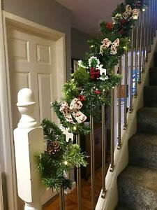Christmas Green Pre-lit Stair Garland Reindeer Warm White Lights 2.7m Xmas Decor
