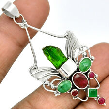 Sacred Angel Wings - Emerald Rough & Ruby 925 Silver Pendant Jewelry PP86016