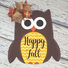 Happy Fall Hoot Owl Door Hanger, Wood Wreath Sign, Yellow Chevron, Thanksgiving