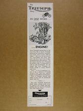 1964 Triumph Vertical Twin motorcycle engine art vintage print Ad