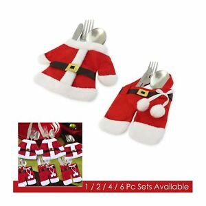 Santa Claus Christmas Table Decor Cutlery Knife Fork Holder Pockets 1/2/4/6 Sets