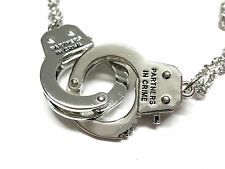 TWO Silver Partners in Crime Handcuffs Pendant chain that open! handcuff