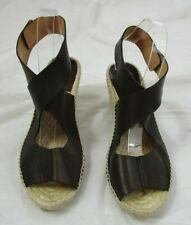 Bettye Muller Brown Leather Espadrille Sandal Size 39 (US 9)