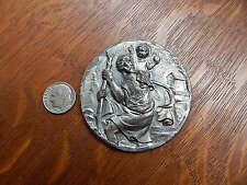 Vintage Italy Large Saint Christopher Nickle Plated Brass Auto Car Visor Clip