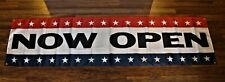 New ListingNow Open Banner Sign 2 feet x 8 Big Red White Bliue Store Restaurant Re-Opening