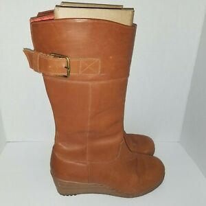 Crocs A-Leigh Brown Leather MidCalf Side Zip Wedge Heel Tall Boot Shoe Women W9