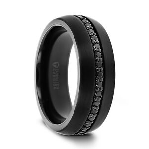 Black Tungsten Ring with Black Sapphires in Center - 8mm Brand New