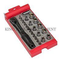 "KING Compact 24 PC BIT and SOCKET SET w/ 1/4"" Dr. Ratchet Handle, CR-V Steel SAE"