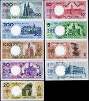 POLAND SET 9; 1-100 200 500 ZLOTYCH 1990 P 164 - 172 UNC