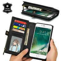 Folio Flip Genuine Leather Magnetic Removable Wallet Case iphone X 7 8 Plus RFID
