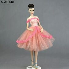 "Pink Lace Polka Handmade Short Tutu Dress For 11.5"" Doll Clothes Outfit Gown 1/6"