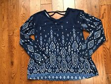 Girls Justice Abstract Blue Long Sleeve Strappy Back Sweater Knit Top EUC