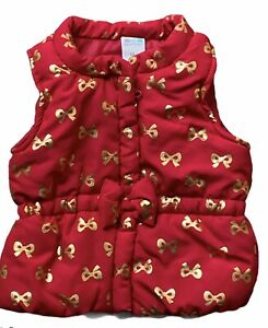 HEALTHTEX baby girl size 6-9 months red w/gold BOWS puff vest