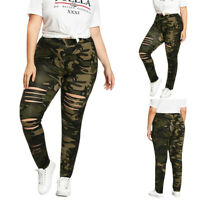 ✅Plus Size Women YOGA Workout Fitness Running Gym Ripped Pants Legging Army
