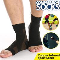 Copper Plantar Fasciitis Compression Socks Foot Arch Support Pain Heel Splint