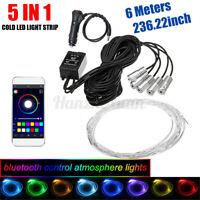 DC12V 6M RGB LED Car Interior Fiber Optic Neon Wire Strip Light Atmosphere
