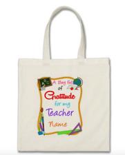 Personalised Canvas Bag Full of  Gratitude For my Teacher Gift