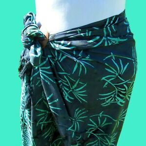 Gray Aqua Hand Batik Sarong Pareo Wrap Full Size Rayon Beach Cover up FREE CLIP