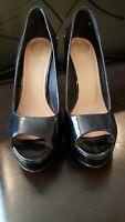 Vince Camuto Black Patent Leather Shoes Heels Peep Toe Pumps Women's Size 9B