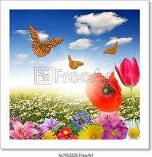 Flower With Butterfly Art Print / Canvas Print. Poster, Wall Art, Home Decor - D