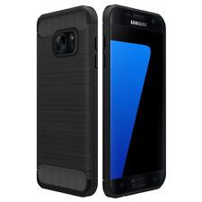 Samsung Galaxy S7 Hülle, Simpeak Elastisch [Schwarz] Karbonfaser Schützendes