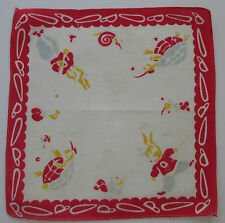 Vintage Child's White Batiste Hankie Tortoise & Hare Red Scalloped Border 1950s